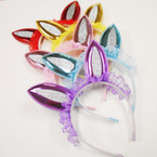 Metallic & Glitter Rabbit Ear Headbands w/ Lace .54 each