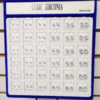Cubic Zirconia Earrings 36 pr per display Square Silver  .45 per pair