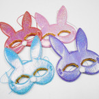 "6"" Metallic Bunny Face Mask asst colors .54 each"