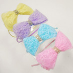 "4"" Lace Bow w/ Crystal Stones Headbands .54 each"