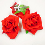 "3.5"" All Red Rose Flower on Gator Clip 12 per pack .54 each"