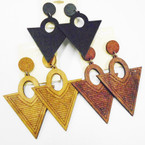 "3""  3 Color Triangle Shaped Wood Earrings  .50 each"