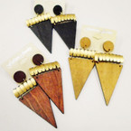 "3""  3 Color Triangle Shaped Wood Earrings w/ Matt Gold   .50 each"