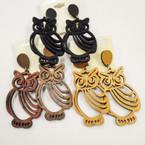 "2.50"" 3 Color Fashion Shaped Wood Earrings OWL Theme  .50 each"