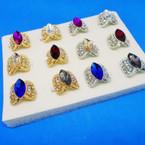 Elegant Crystal & Colored Stone Fashion Rings (415) .54 each