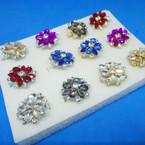 Elegant Crystal & Colored Stone Fashion Rings (420) .54 each