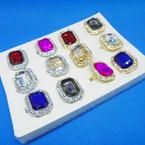 Elegant Crystal & Colored Stone Fashion Rings (411) .54 each