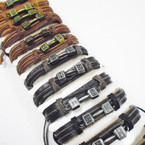 Teen Leather Bracelets w/Gold & Silver Faith Bar  .54 ea