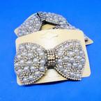 """Elegant 3.5"""" Pearl & Crystal Stone Barrettes Bow Style .54 each"""