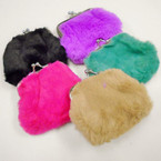 "3.5"" Faux Fur Snap Closure Coin Purse .50 each"
