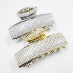 "3.5"" Gold & Silver Jaw Clips w/ Clear Crystal Stones .54 each"