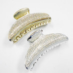 "3.25"" Gold & Silver Jaw Clips w/ Clear Crystal Stones .54 each"