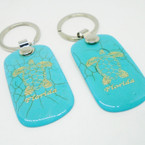 "2.25"" Turquoise Stone Florida Keychain w/ Gold Turtle  12 per pk .54 each"