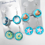 DBL Sided Glass Sea Shell Fashion Earrings 6 styles .54 each