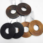 """2.5"""" 3 Color Wood Fashion Earrings Round Shaped    .52 each"""