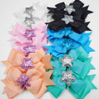 "6"" Multi Layer Glitter Gator Clip Bows w/ Sparkle Star .56 each"