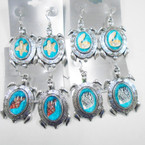 Cast Silver Turtle Fashion Earring w/ Glass Seashell Insert .54 each