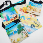 "4.5"" X 6"" Nautical/Beach  Theme Zipper Bag w/ Lg. Strap  .56 each"