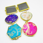 "2.5"" Mixed Shape DBL Mirror Compacts Chinese Flower Prints .54 each"