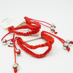 Kid's 2 Pack All Red Macrame Bracelets w/ Silver Beads  .50 per set