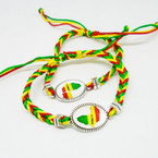 Rasta Color Macrame Bracelet w/ Africa Map Charm.52 each