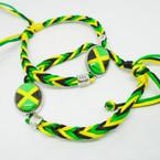 Jamaica Color Macrame Bracelet w/ Jamaica Flag  Charm .52 each