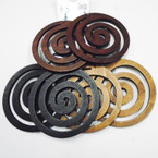 "3.5"" Large 3 Color Spiral Shape Wood Fashion Earrings .54 each"