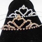Gold/Silver Rhinestone Tiara Headbands Clear Stones (416) .65 each