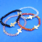 Brilliant Crystal Beaded Stretch Bracelet w/ Shell Cross  Charm .54 each