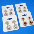 Elegant DBL  Crystal Flower Fashion Earrings .54 each