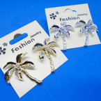 "1.5"" Cast Gold & Silver Palm Tree Earrings w/ Crystal Stone .54 ea"