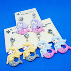 Cutest Mermaid Earrings w/ Crystal Stones Earrings .54 ea