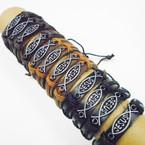 3 Color Leather Bracelets w/ Silver JESUS Fish .54 each