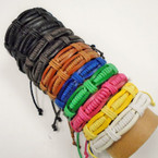 3 Strand Multi Color Leather Bracelets .54 each