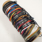 8 Strand Multi Color Leather & Cord  Bracelets .54 each