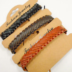 3 Color Braid Style Teen Leather Bracelets .54 each
