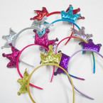 Satin Fashion Headband w/ DBL Sparkle Crowns .54 each