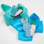 "4"" Mixed Color Gator Clip Bows w/ Sparkle Bunny w/ Carrot 24 pk .27 each"