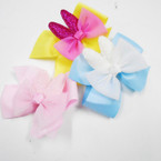 "4"" Mixed Color Gator Clip Bows w/ Sparkle Bunny Ears w/ 24 pk .27 each"