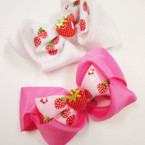 "3.5"" 2 Layer Gator Clip Bows w/ Strawberry 24 per pk .27 each"