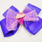 "5"" Gator Clip Bow 2 Layers Chiffon & Sparkle Ice Cream Cone  .54 each"