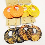 Wood Fashion Earring w/ Print w/ Matt Gold Bead .50 each