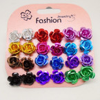 12 Pair Metallic Rose Earrings Asst Colors .50 per set