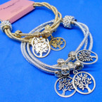3 Strand Gold & Silver Magnetic Closure Bracelet w/ Tree of Life Charms .54 ea