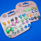 So Cute 12 Pair Kid's Animal Earrings .50 per set