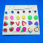 So Cute 12 Pair Kid's Fruit & Crystal Stud  Earrings .50 per set