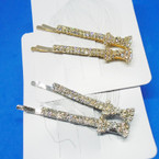 "2 Pk 2.75"" Gold & Silver Brilliant Rhinestone Hair Pins .54 per set"
