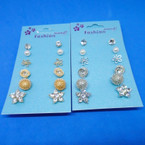 6 Pair Gold & Silver Fashion Stud Earrings .50 per set