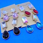 Diamond Cut Jeweled Stone 2 Piece Fashion Earrings .52 each