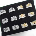 Fashionable Gold & Silver Crystal Stone Band Rings w/ Rose  .54 ea